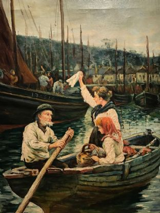 Fine Large Newlyn Fishing Boat Scene Waving Goodbye to the Fishermen - Painting